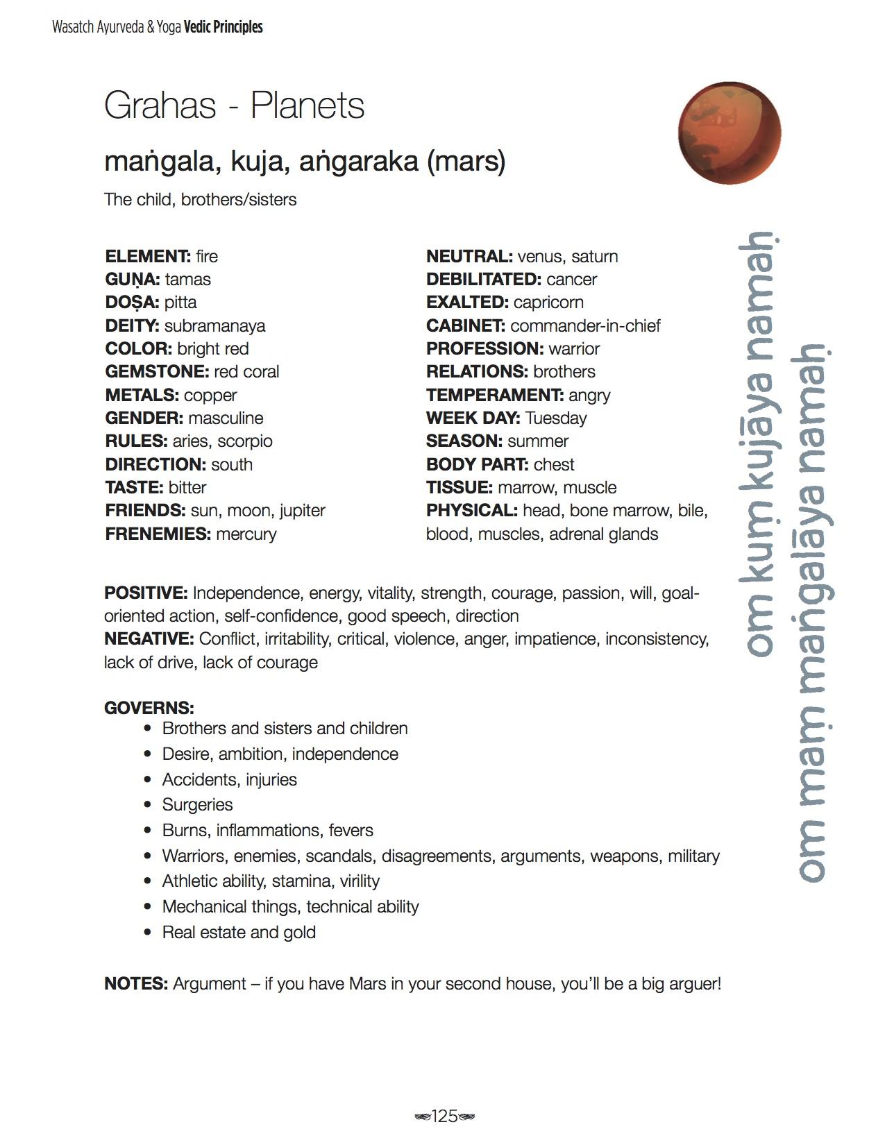 9 grahas mangala - Wasatch Ayurveda & Yoga